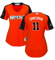 Women's Majestic Washington Nationals #11 Ryan Zimmerman Replica Orange National League 2017 MLB All-Star MLB Jersey