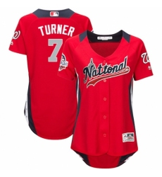 Women's Majestic Washington Nationals #7 Trea Turner Game Red National League 2018 MLB All-Star MLB Jersey