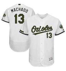 Men's Majestic Baltimore Orioles #13 Manny Machado White Flexbase Authentic Collection Memorial Day MLB Jersey