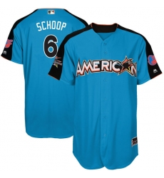 Men's Majestic Baltimore Orioles #6 Jonathan Schoop Authentic Blue American League 2017 MLB All-Star MLB Jersey