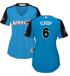 Women's Majestic Baltimore Orioles #6 Jonathan Schoop Authentic Blue American League 2017 MLB All-Star MLB Jersey