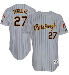 Men's Majestic Pittsburgh Pirates #27 Kent Tekulve Replica Grey 1997 Turn Back The Clock MLB Jersey