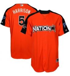 Men's Majestic Pittsburgh Pirates #5 Josh Harrison Authentic Orange National League 2017 MLB All-Star MLB Jersey