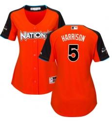Women's Majestic Pittsburgh Pirates #5 Josh Harrison Authentic Orange National League 2017 MLB All-Star MLB Jersey