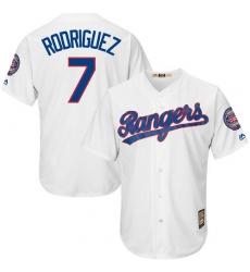 Men's Majestic Texas Rangers #7 Ivan Rodriguez Replica White Cooperstown MLB Jersey