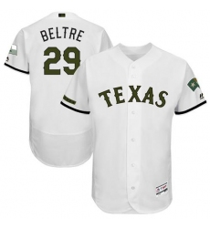 Men's Majestic Texas Rangers #29 Adrian Beltre White Memorial Day Authentic Collection Flex Base MLB Jersey