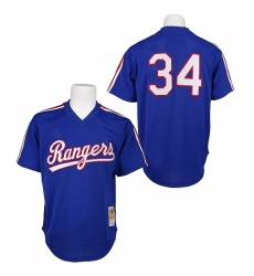 Men's Mitchell and Ness 1989 Texas Rangers #34 Nolan Ryan Replica Royal Blue Throwback MLB Jersey