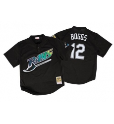 Men's Mitchell and Ness 1998 Tampa Bay Rays #12 Wade Boggs Authentic Black Throwback MLB Jersey