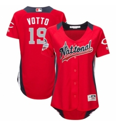 Women's Majestic Cincinnati Reds #19 Joey Votto Game Red National League 2018 MLB All-Star MLB Jersey
