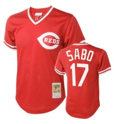 Men's Mitchell and Ness Cincinnati Reds #17 Chris Sabo Authentic Red Throwback MLB Jersey
