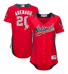 Women's Majestic Colorado Rockies #28 Nolan Arenado Game Red National League 2018 MLB All-Star MLB Jersey