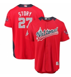 Men's Majestic Colorado Rockies #27 Trevor Story Game Red National League 2018 MLB All-Star MLB Jersey