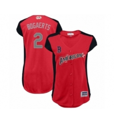Women's Boston Red Sox #2 Xander Bogaerts Authentic Red American League 2019 Baseball All-Star Jersey