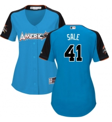 Women's Majestic Boston Red Sox #41 Chris Sale Replica Blue American League 2017 MLB All-Star MLB Jersey