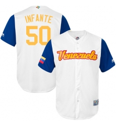 Men's Venezuela Baseball Majestic #50 Gregory Infante White 2017 World Baseball Classic Replica Team Jersey