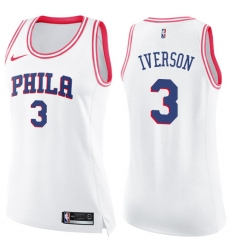Women's Nike Philadelphia 76ers #3 Allen Iverson Swingman White/Pink Fashion NBA Jersey