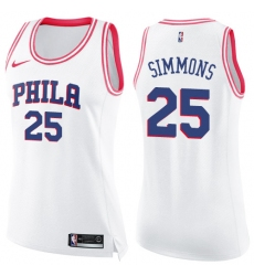 Women's Nike Philadelphia 76ers #25 Ben Simmons Swingman White/Pink Fashion NBA Jersey