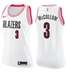 Women's Nike Portland Trail Blazers #3 C.J. McCollum Swingman White/Pink Fashion NBA Jersey