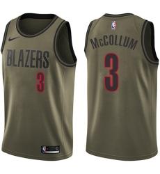Youth Nike Portland Trail Blazers #3 C.J. McCollum Swingman Green Salute to Service NBA Jersey