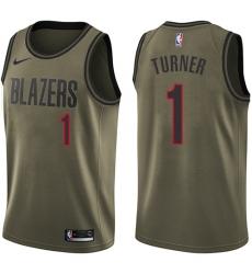 Men's Nike Portland Trail Blazers #1 Evan Turner Swingman Green Salute to Service NBA Jersey