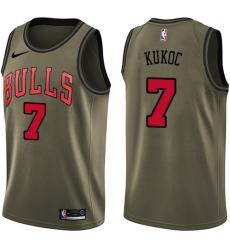 Men's Nike Chicago Bulls #7 Toni Kukoc Swingman Green Salute to Service NBA Jersey