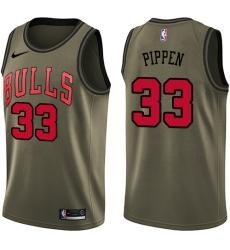 Men's Nike Chicago Bulls #33 Scottie Pippen Swingman Green Salute to Service NBA Jersey