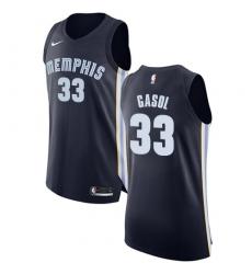 Men's Nike Memphis Grizzlies #33 Marc Gasol Authentic Navy Blue Road NBA Jersey - Icon Edition