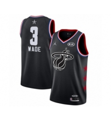 Men's Miami Heat #3 Dwyane Wade Swingman Black 2019 All-Star Game Basketball Jersey