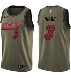Men's Nike Miami Heat #3 Dwyane Wade Swingman Green Salute to Service NBA Jersey