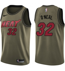 Men's Nike Miami Heat #32 Shaquille O'Neal Swingman Green Salute to Service NBA Jersey