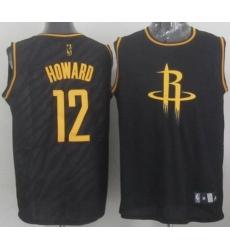 Rockets #12 Dwight Howard Black Precious Metals Fashion Stitched NBA Jersey
