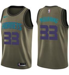 Men's Nike Charlotte Hornets #33 Alonzo Mourning Green Salute to Service NBA Swingman Jersey