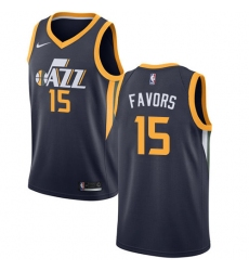 Men's Nike Utah Jazz #15 Derrick Favors Swingman Navy Blue Road NBA Jersey - Icon Edition