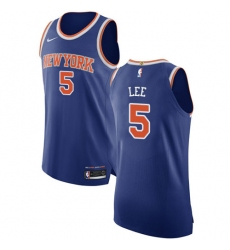 Men's Nike New York Knicks #5 Courtney Lee Authentic Royal Blue NBA Jersey - Icon Edition