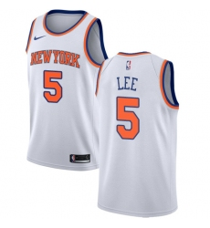 Men's Nike New York Knicks #5 Courtney Lee Authentic White NBA Jersey - Association Edition