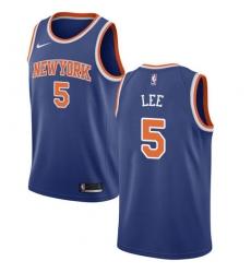 Men's Nike New York Knicks #5 Courtney Lee Swingman Royal Blue NBA Jersey - Icon Edition