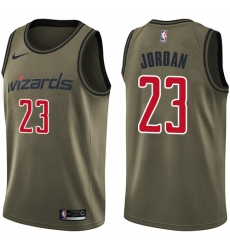 Men's Nike Washington Wizards #23 Michael Jordan Green Salute to Service NBA Swingman Jersey