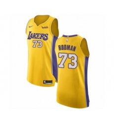 Men's Los Angeles Lakers #73 Dennis Rodman Authentic Gold Home Basketball Jersey - Icon Edition
