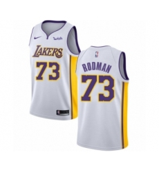Men's Los Angeles Lakers #73 Dennis Rodman Authentic White Basketball Jersey - Association Edition