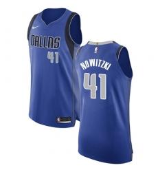 Men's Nike Dallas Mavericks #41 Dirk Nowitzki Authentic Royal Blue Road NBA Jersey - Icon Edition