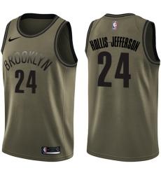 Men's Nike Brooklyn Nets #24 Rondae Hollis-Jefferson Green Salute to Service NBA Swingman Jersey