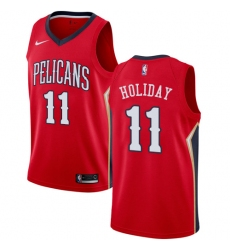 Men's Nike New Orleans Pelicans #11 Jrue Holiday Authentic Red Alternate NBA Jersey Statement Edition