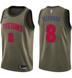Men's Nike Detroit Pistons #8 Henry Ellenson Swingman Green Salute to Service NBA Jersey