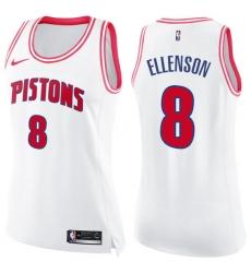 Women's Nike Detroit Pistons #8 Henry Ellenson Swingman White/Pink Fashion NBA Jersey