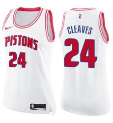 Women's Nike Detroit Pistons #24 Mateen Cleaves Swingman White/Pink Fashion NBA Jersey