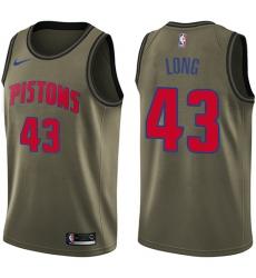 Men's Nike Detroit Pistons #43 Grant Long Swingman Green Salute to Service NBA Jersey