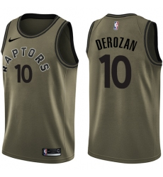 Men's Nike Toronto Raptors #10 DeMar DeRozan Swingman Green Salute to Service NBA Jersey
