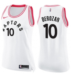 Women's Nike Toronto Raptors #10 DeMar DeRozan Swingman White/Pink Fashion NBA Jersey