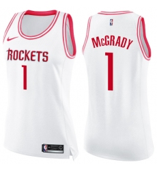 Women's Nike Houston Rockets #1 Tracy McGrady Swingman White/Pink Fashion NBA Jersey