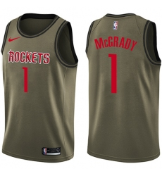 Youth Nike Houston Rockets #1 Tracy McGrady Swingman Green Salute to Service NBA Jersey